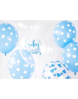 """Şeffaf mavi 6 """"BEBEK DUŞU"""" lateks balonlar (30 cm)"""