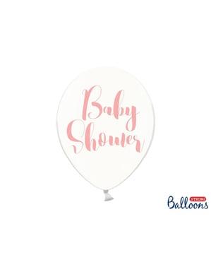 """Şeffaf pembe 6 """"BABY DUŞ"""" lateks balonlar (30 cm)"""
