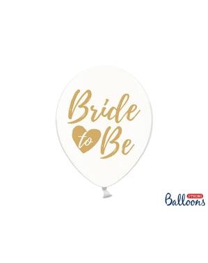 """पारदर्शी सोने (30 सेमी) में 6 """"ब्राइड टू बीई"""" लेटेक्स गुब्बारे - गोल्ड ब्राइडल शावर"""