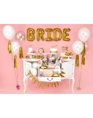"""पारदर्शी गुलाबी (30 सेमी) में 50 """"ब्राइड"""" लेटेक्स गुब्बारे - गोल्ड ब्राइडल शावर"""