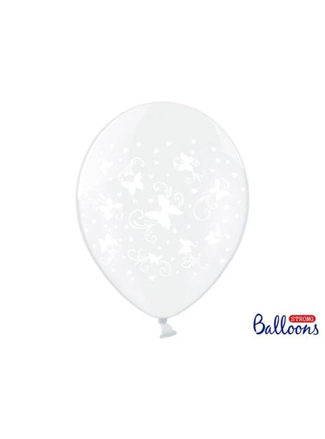 6 Luftballons transparent mit weißen Schmetterlingen (30 cm)