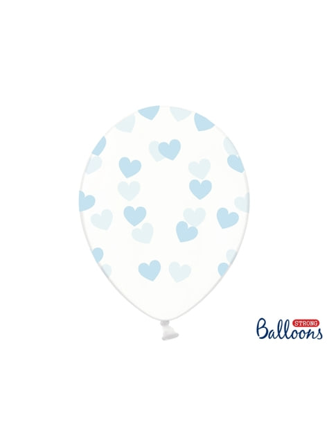 6 ballonnen met blauwe harten (30 cm)