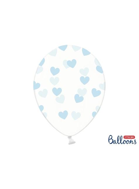 6 Luftballons mit blauen Herzen (30 cm)