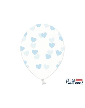 6 ballonger med blå hjerter (30 cm)