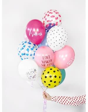 6 balões com corações azuis (30 cm)