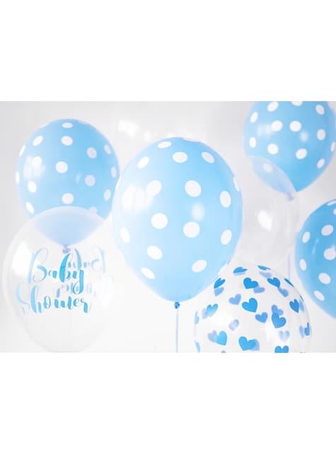 6 balloner med blå hjerter (30 cm)
