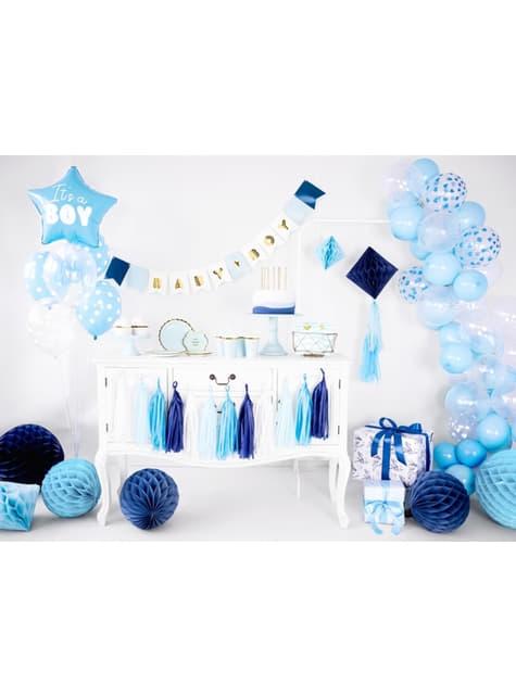 6 balonků s modrými srdíčky (30 cm)