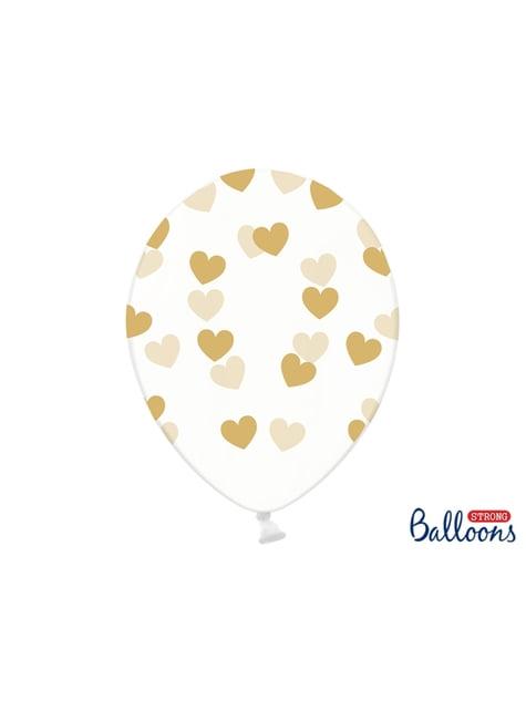 6 balões com corações dourados (30 cm)