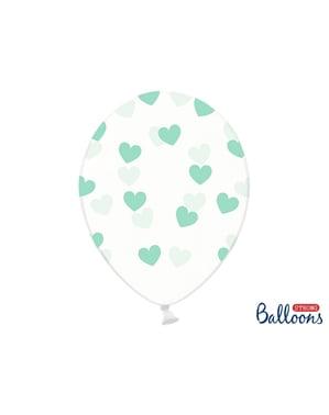 6 ilmapalloa vihreillä sydämillä (30cm)