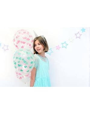 6 ballonnen met groene harten (30 cm)