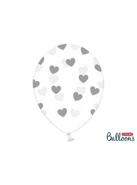 6 balões com corações cinzentos (30 cm)