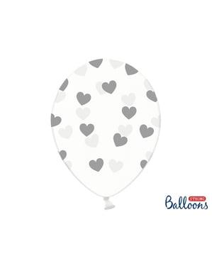 6 ilmapalloa harmailla sydämillä (30cm)