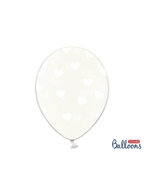 6 balões transparentes com corações brancos (30 cm)