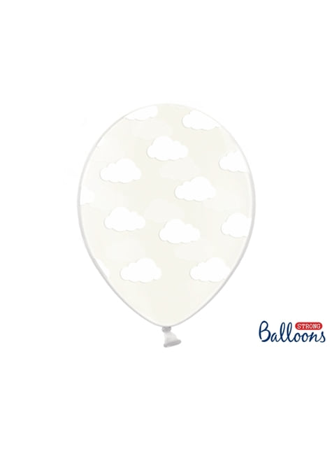 6 ballons transparents avec nuages blancs (30 cm)