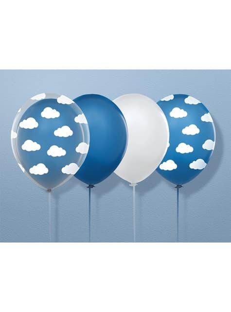 6 ballonnen transparent met witte wolken (30 cm)