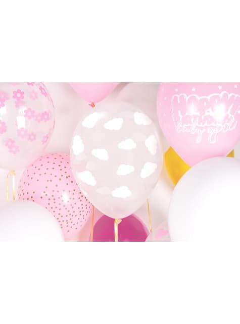 6 Luftballons transparent mit weißen Wolken (30 cm)
