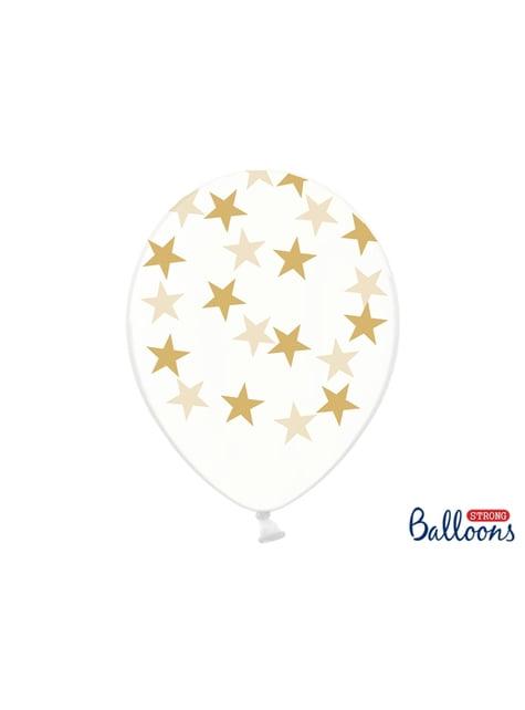 6 Luftballons transparent mit goldenen Sternen (30 cm)