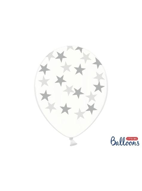 50 balonků transparent with silver stars (30 cm)