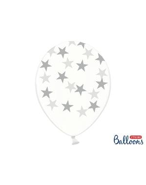 6 globos con estrellas transparente (30 cm)