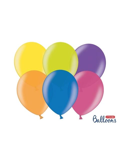100 sterke ballonnen in geassorteerde metallic kleuren, 30 cm
