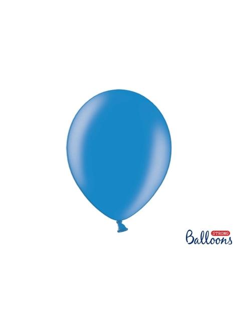 100 sterke ballonnen in metallic medium blauw, 30 cm