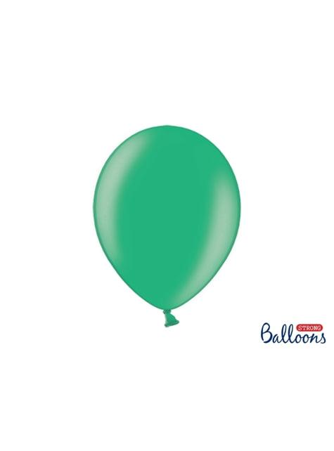 10 globos extra resistentes verde metalizados (30 cm)