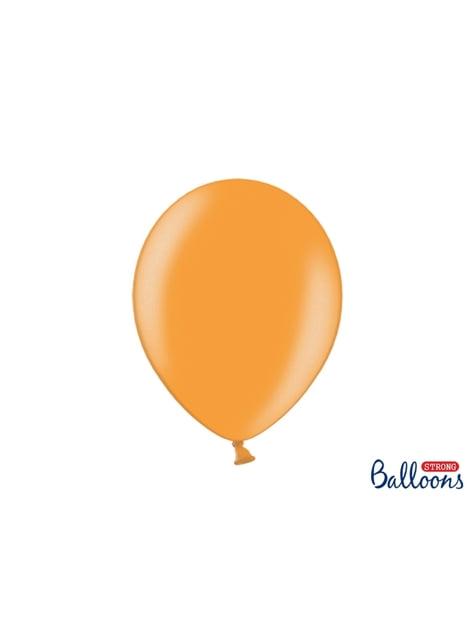 100 extra sterke ballonnen in metallic oranje (30 cm)