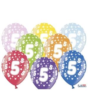 """Çok renkli """"5"""" Lateks balonlar"""