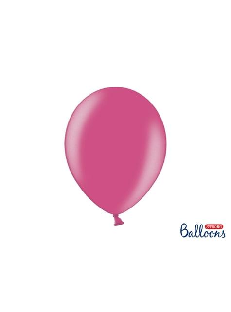 100 balões extra resistentes cor-de-rosa metalizado (30cm)