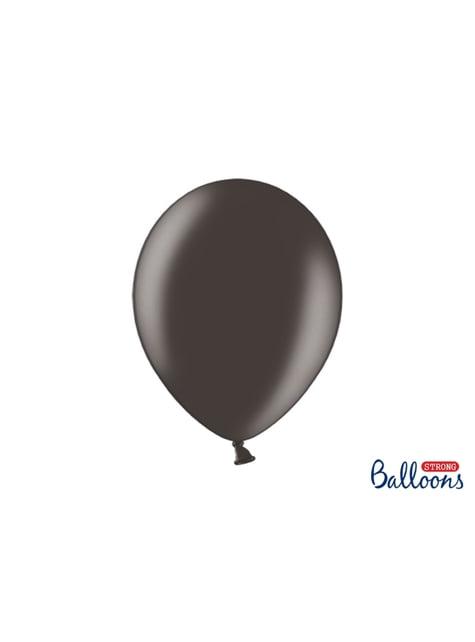 10 palloncini extra resistenti nero metallizzato (30 cm)