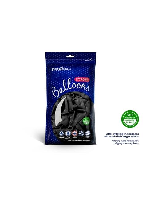 10 ballons extra résistants noirs métallisés (30 cm)