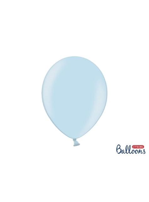100 extra sterke ballonnen in metallic pastel blauw (30 cm)