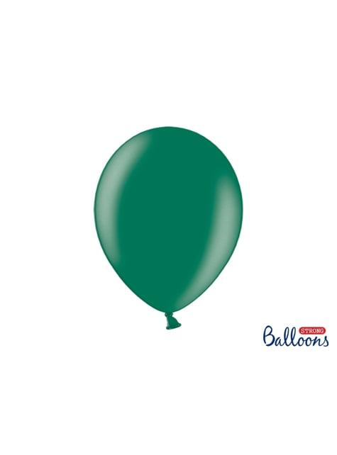 10 palloncini extra resistenti verde bottiglia metallizzato (30 cm)