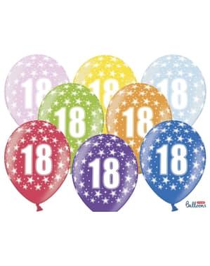 6 ballons 18 ans multicolores en latex