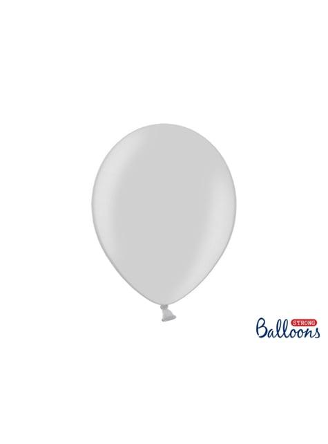 10 metaliczne jasno-szare mocne balony 30cm