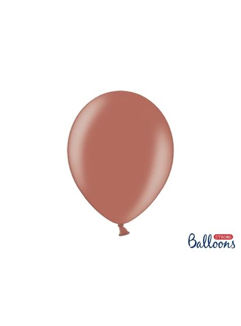 10 extra sterke ballonnen in metallic aardebruin (30 cm)