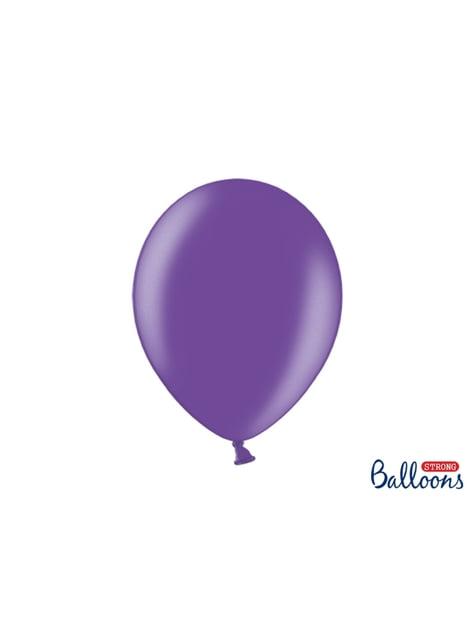 10 ballons extra résistants violet clair métallisés (30 cm)