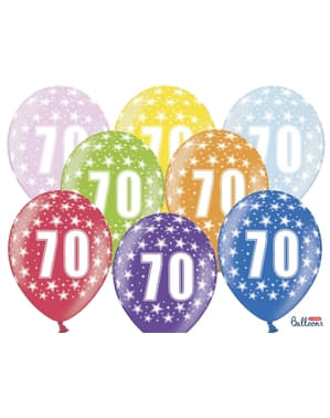 "6 ""70"" Latex Balloons Multicolour (30cm)"