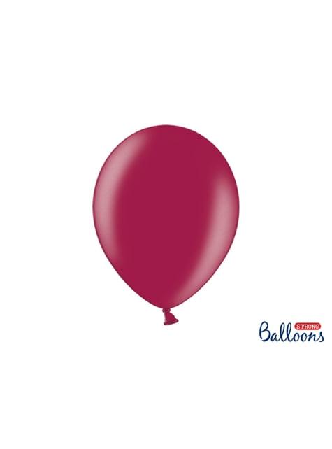 100 balões extra resistentes grená metalizado (30cm)