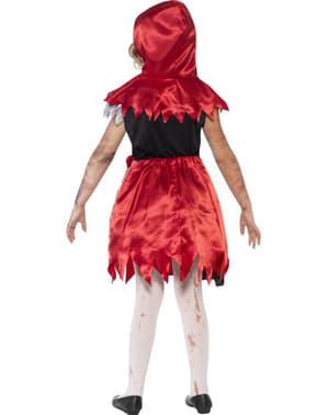 Fato de capuchinho vermelho zombie para menina