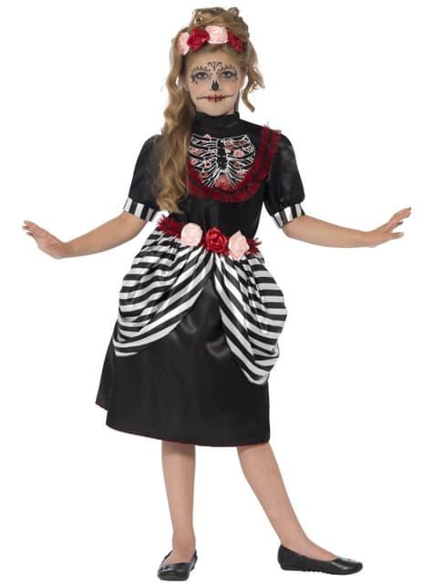 Fato esqueleto adorável para menina
