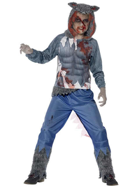 Fato de lobo lutador zombie para menino