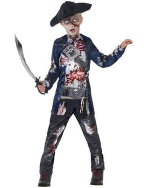 Fato de pirata zombie jolly rotten deluxe para menino