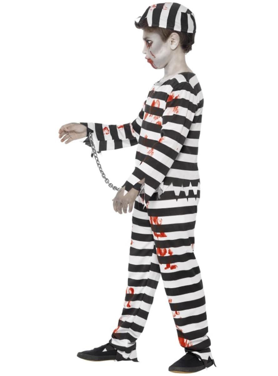 Disfraz de preso zombie para niño. Entrega 24h - Funidelia