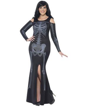 Skelett Kostüm für Damen elegant große Größe