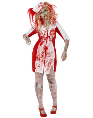 Zombie bloody nurse costume for women in large size