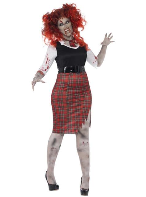 Womens Plus Size Zombie Schoolgirl Costume