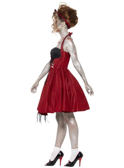 Disfraz rockabily zombie para mujer