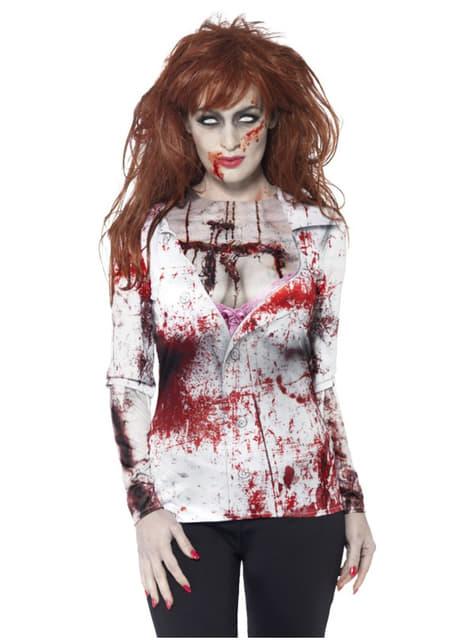 Camiseta de zombie harapienta para mujer