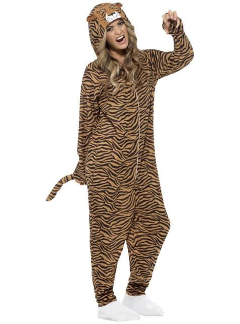 Fato de tigre Onesie para adulto